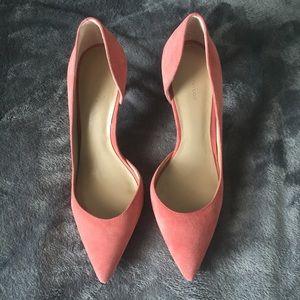 Ann Taylor Peach Pink Suede Heels